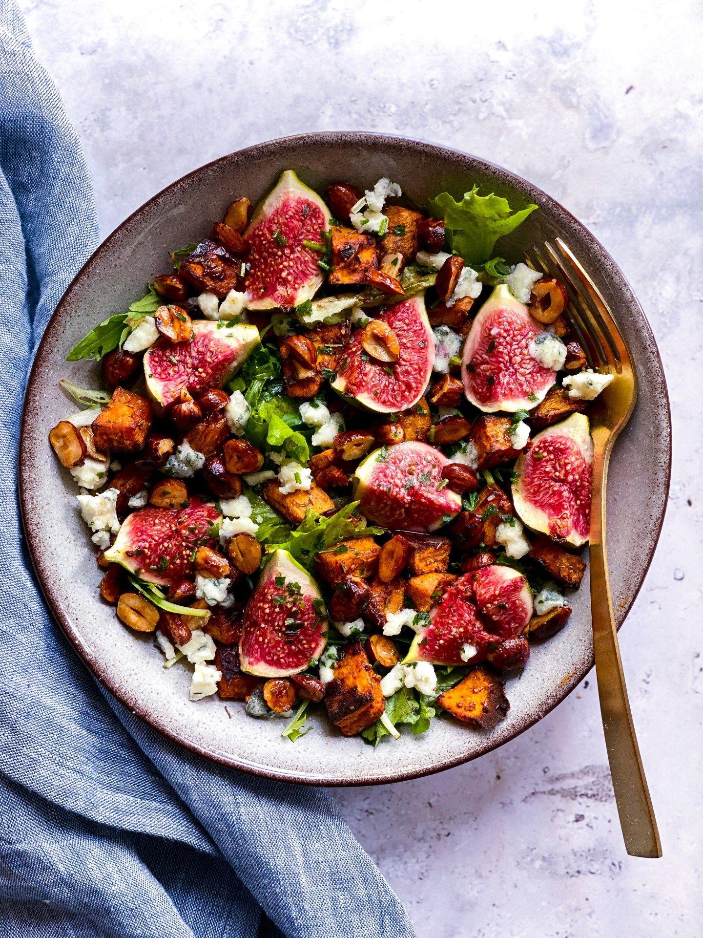 Salade d'automne à la patate douce et figues - Clemfoodie #saladeautomne