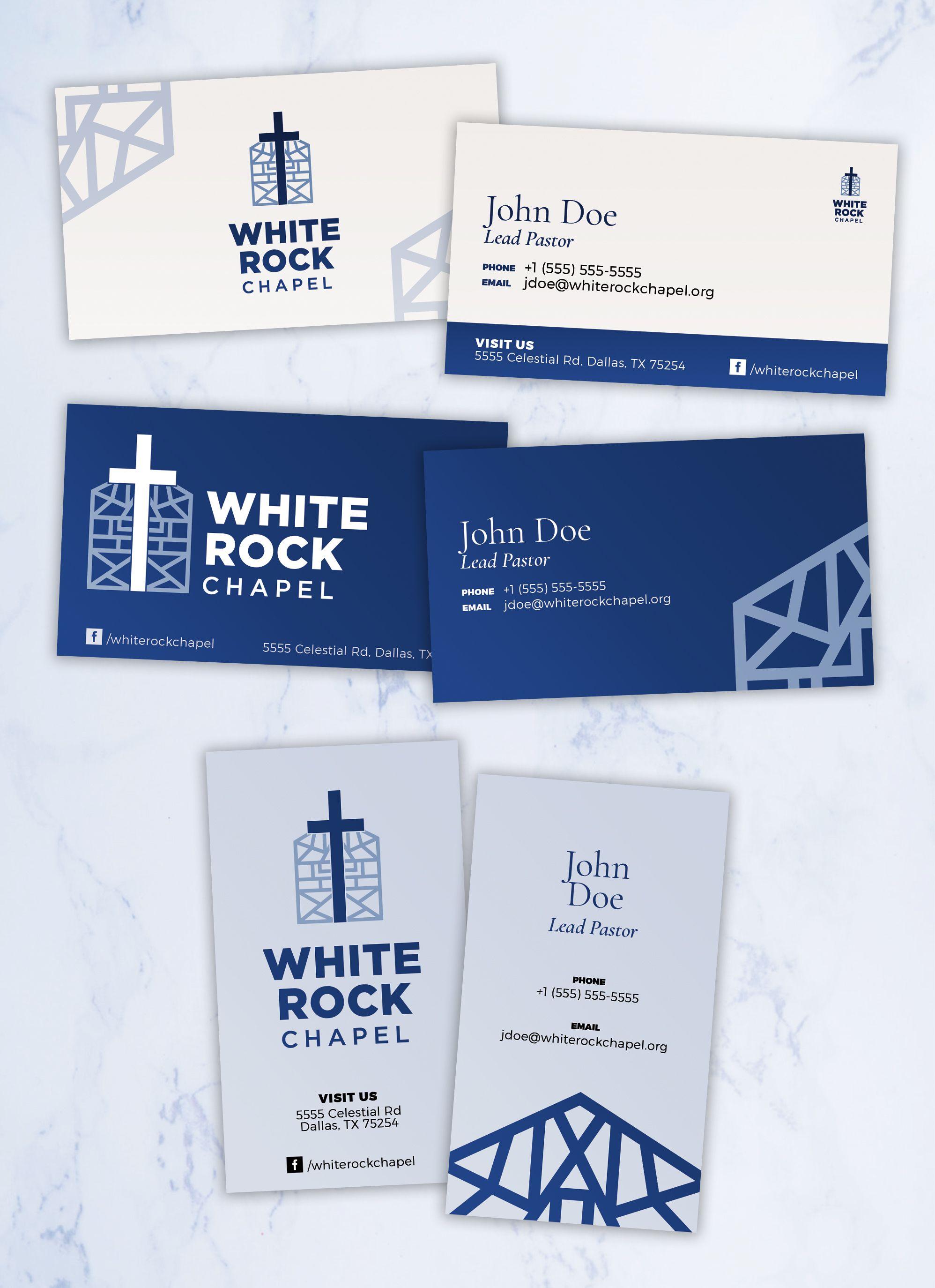 White Rock Chapel Business Card Options Business Card Design Graphic Design Programs Brand Identity Design