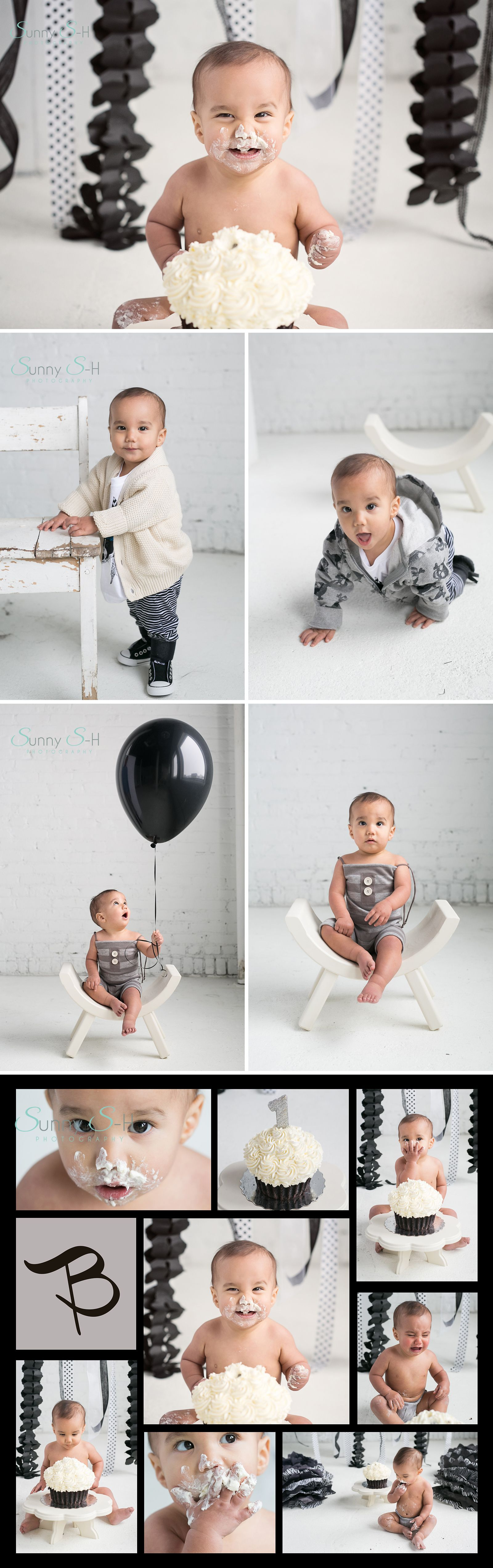Black and white themed first birthday cake smash session in studio. SO cute!