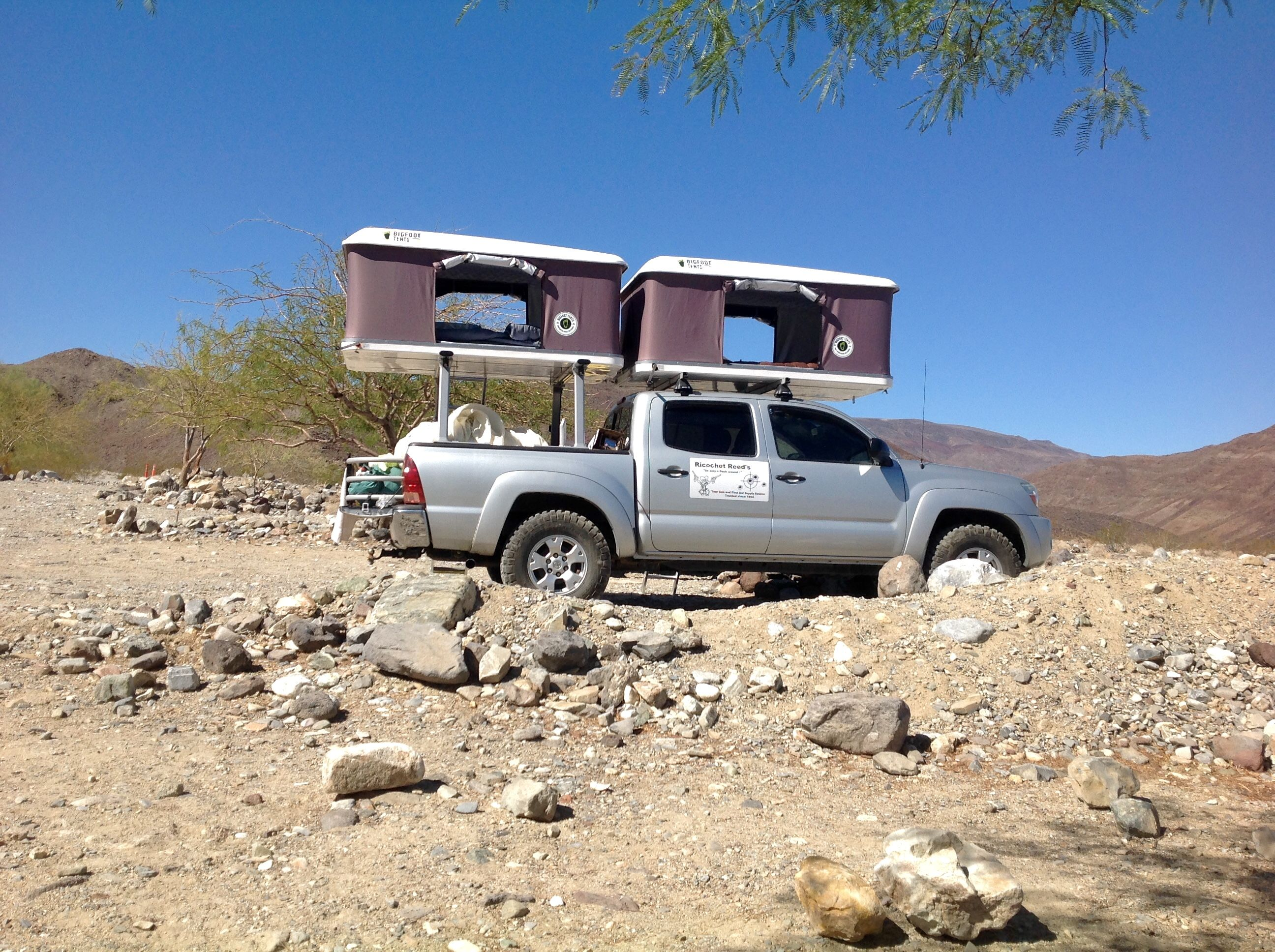 Two Roof Top Tents Installed On The Same Toyota Tacoma Truck Www Bigfoottents Com Roof Top Tent Top Tents Jeep Wrangler Accessories