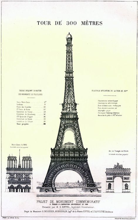 Height comparison between the projected Eiffel Tower and Notre Dame