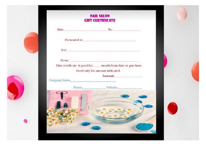 Nail Salon Gift Certificate Template Manicure Gift Certificate