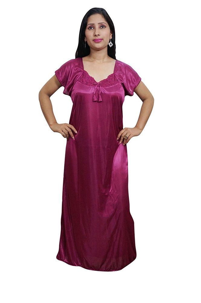 37d8301e4f Indiatrendzs Women Maxi Night Gown Satin Pink 2pc Set Honeymoon Nighty With  Robe