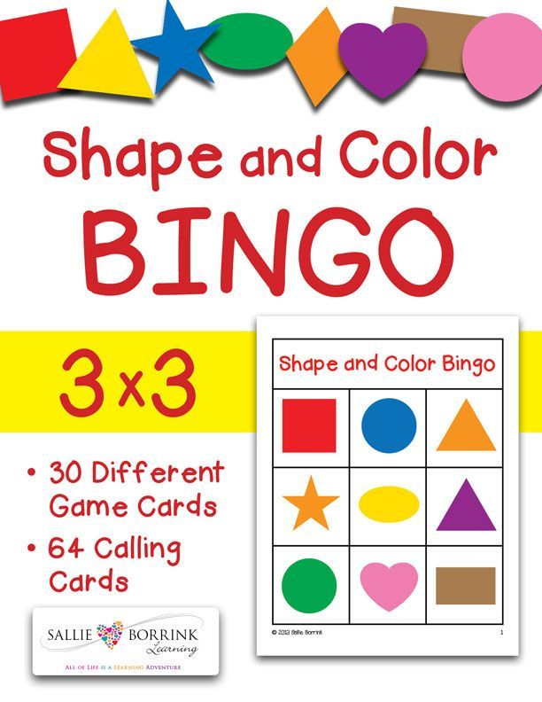 Shapes And Colors Bingo Game Cards 3x3 Math Center Activities Bingo Preschool Colors