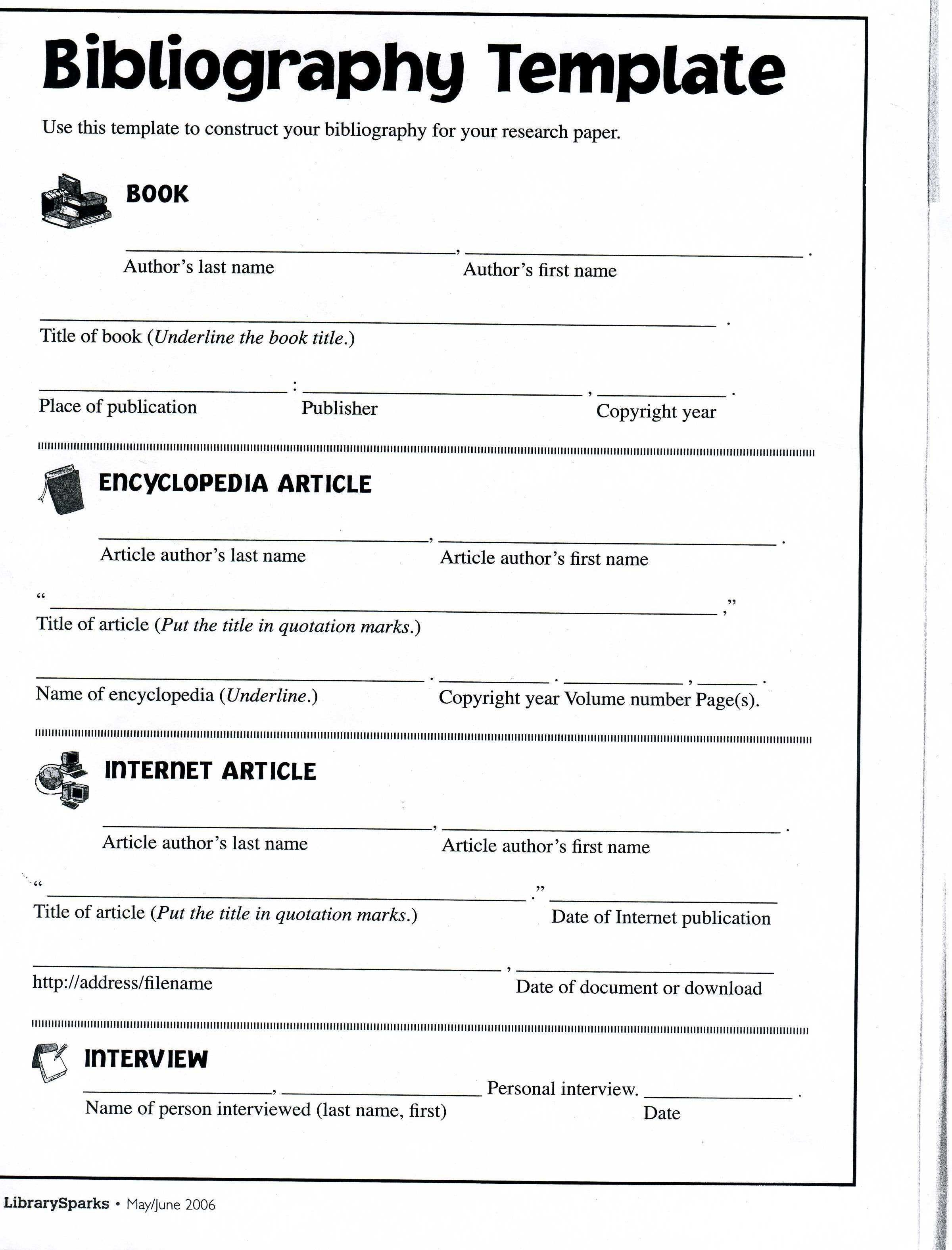 Bibliography Template Mla Middle School