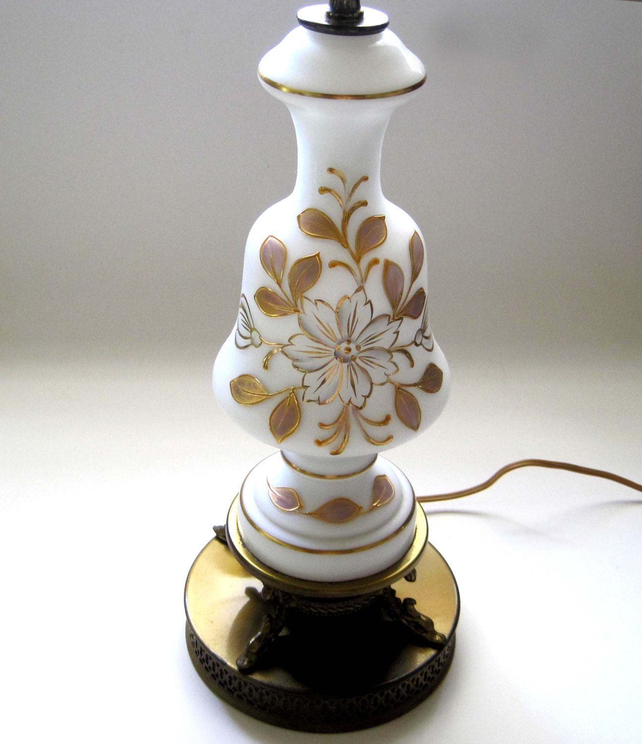 Vintage Ceramic Lamp Mid Century White and Gold 1960s Table Lighting
