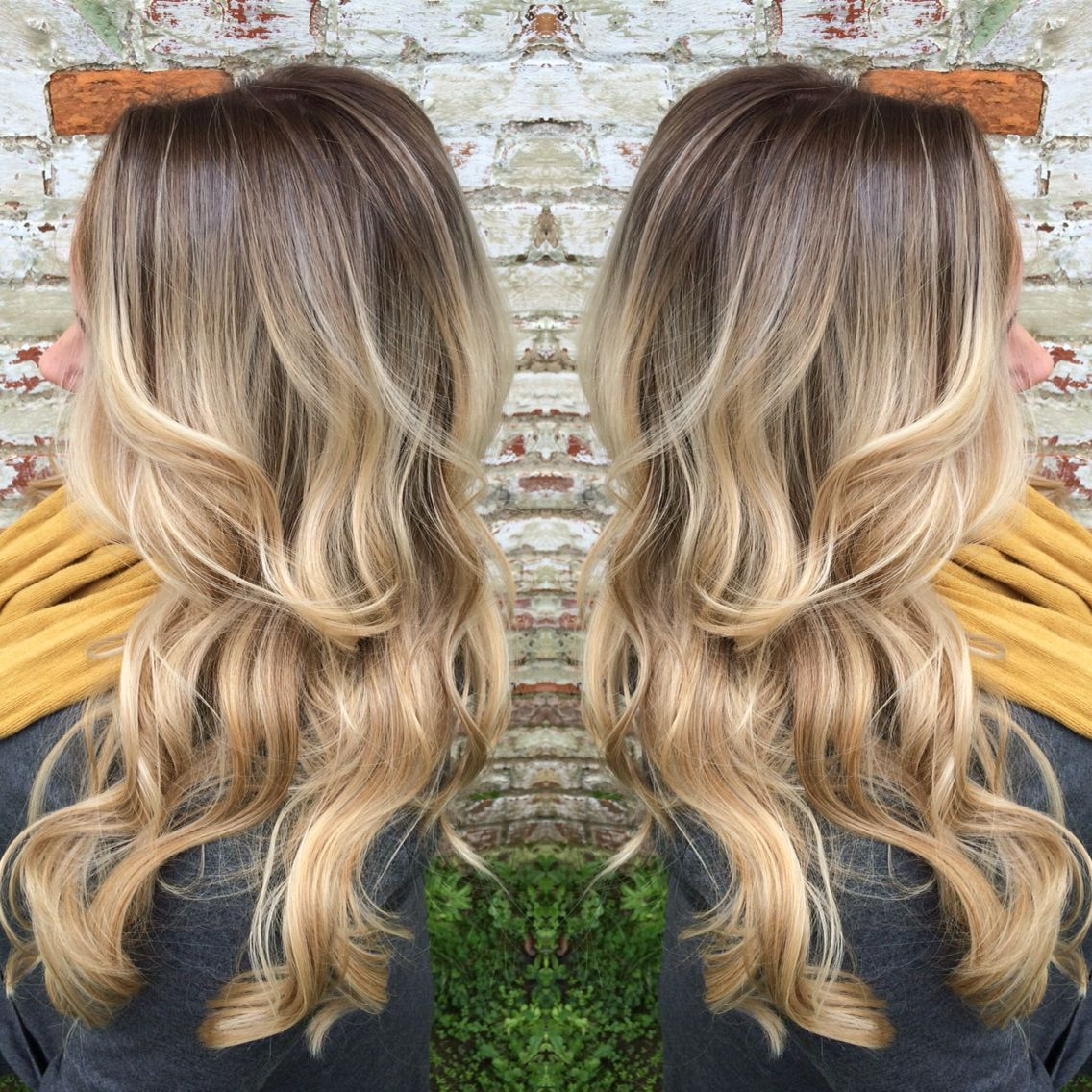 a rooty blonde she went from blonde highlights to this beautiful balayage rubio gris rojo. Black Bedroom Furniture Sets. Home Design Ideas