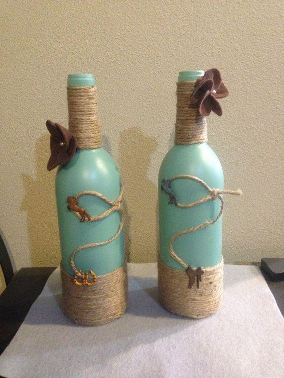 Wine Bottle Decor Western Decor Wine Bottle On Etsy $2000  Crafts And Diy