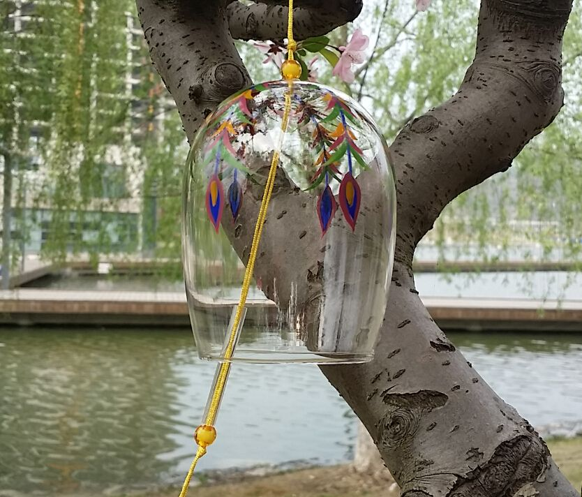 Feather style glass wind charm,glass wind bell/windchime for home decor,birthday green gift,holiday gifts,house ornamenrt