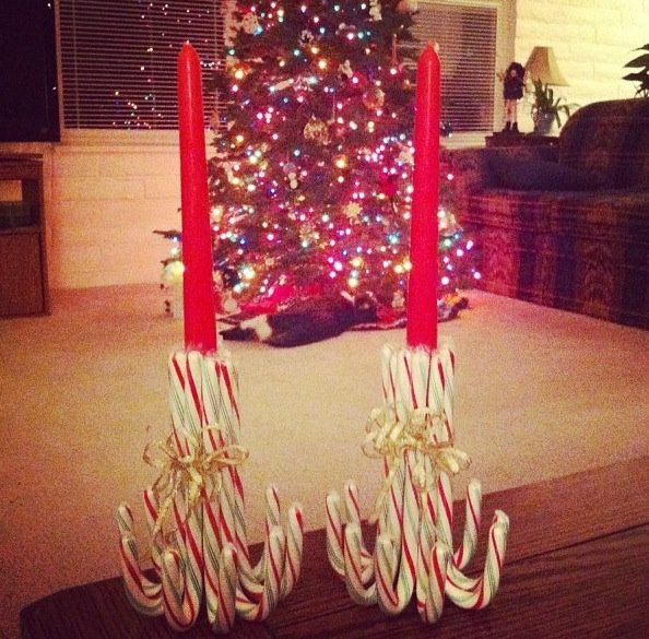 Candy cane candle holders christmas pinterest candy for Candy cane holder candle centerpiece