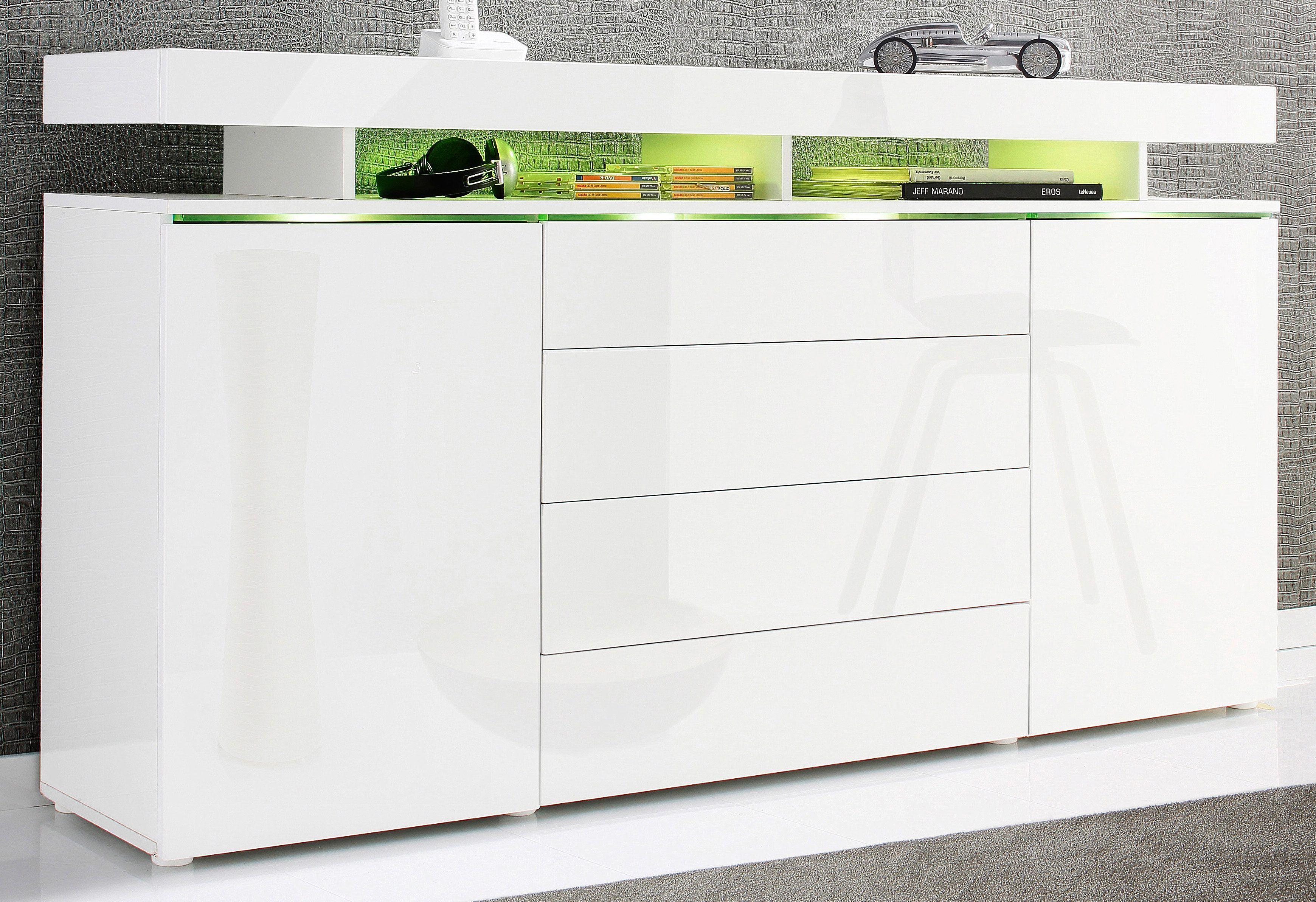 Sideboard Weiß, Hochglanz Fronten, Push To Open Funktion, Mit Schubkästen,