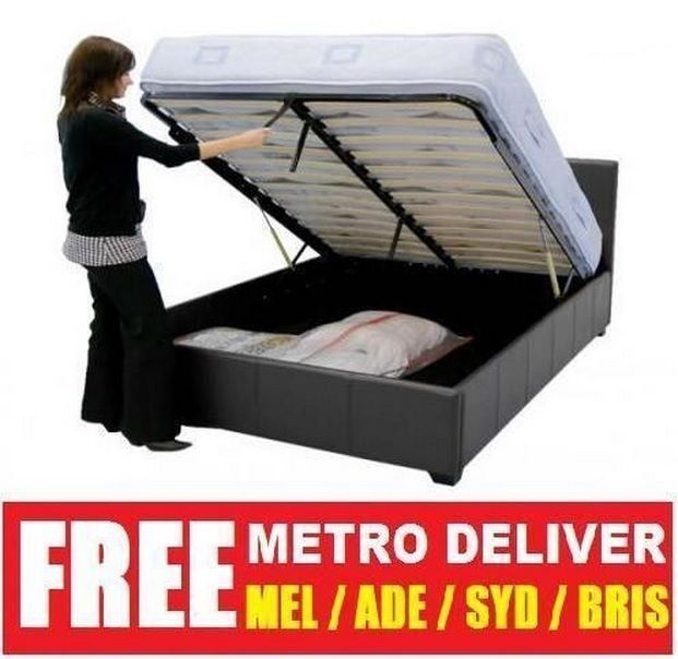 17a7eff5efd PRADA GAS LIFT DOUBLE QUEEN KING SIZE BLACK BROWN WHITE PU LEATHER BED  FRAME au.picclick.com