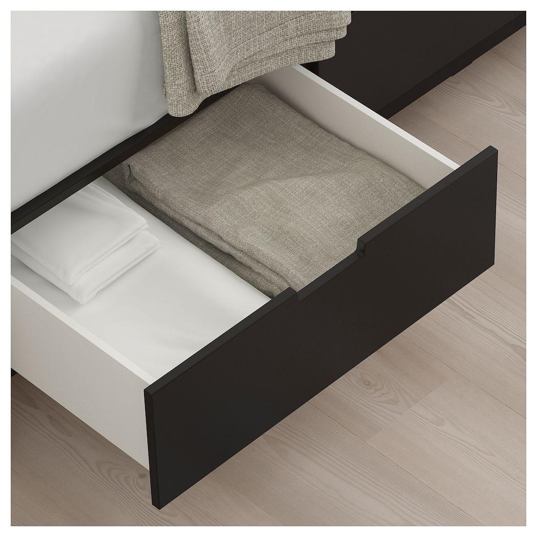 Nordli Bettgestell Mit Schubladen Anthrazit 140x200 Cm Ikea Deutschland Bettgestell Bett Ideen Bett Lagerung