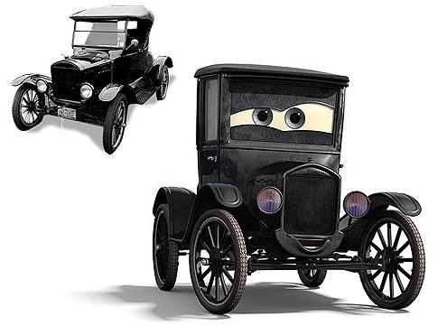 """REDES SOCIALES FORD te dice ¿Quien es Genoveva en cars?  vehículo: 1923 Ford Modelo T Cuando comenzó la producción, el coche fue apodado el """"Tin Lizzie"""". Al igual que su tocayo, Lizzie, en Cars, es una original y temeraria, auto  que no le importa dar su opinión, incluso si es sincero, a menudo confusa, y ella no puede recordar lo que acaba de decir. Aún así, ella es una mujer de negocios fuerte y vende guardabarros y parachoques y otros objetos de la ruta 66 a los turistas en la carretera."""