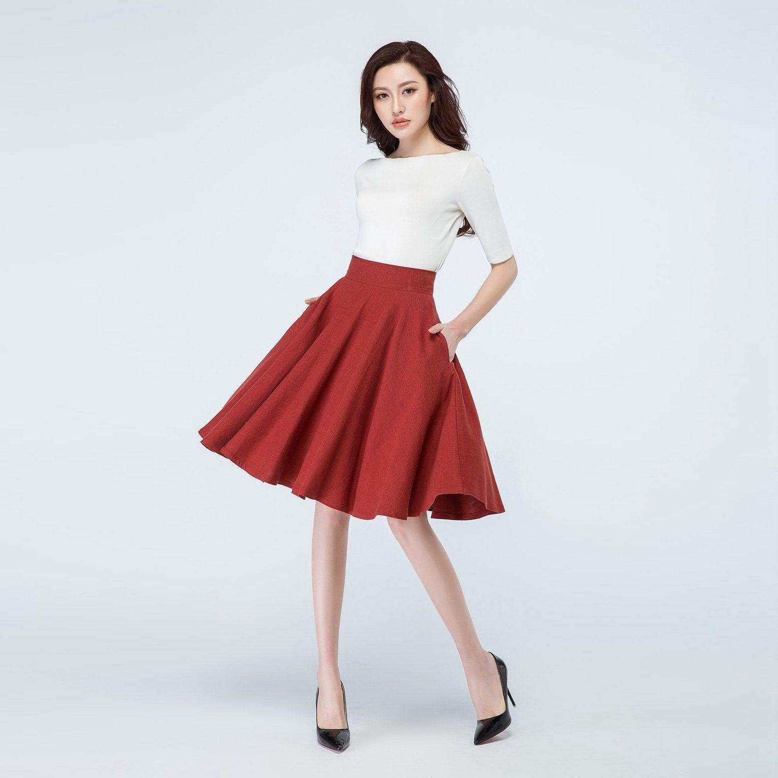 GIRLS SKATER SKIRT-SWING FLARE SKIRT RED  BLACK  GREY