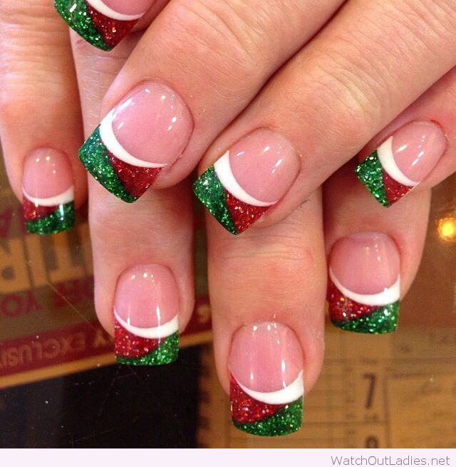 green red and white christmas nails - White Christmas Nails