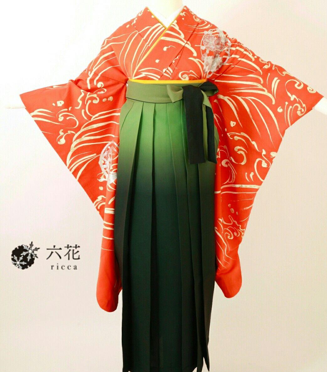 卒業式 袴レンタル・着付け・ヘアメイク 袴コーディネート 赤色波柄花の丸刺繍
