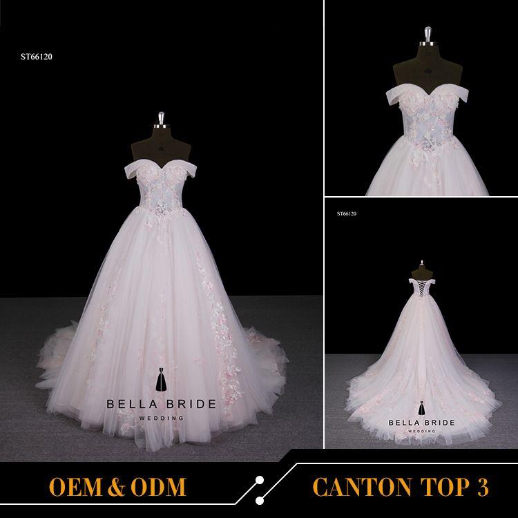 Latest wedding gown designs 2017 floral wedding dress pink bridal ...