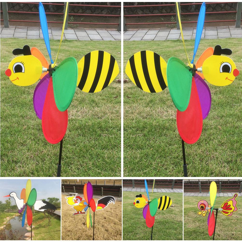 3D Cute Bee Animal Windmill Wind Spinner Whirligig Yard Garden Decor Outdoor Toy