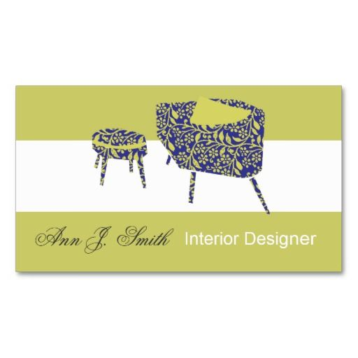 Elegant modern pattern pea green interior design business card pea green interior designer business card template at zazzle reheart Gallery