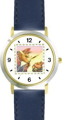 Mommy & Baby Bunny Rabbit Keeping Secret - from Hush Little Baby by Artist: Sylvia Long - WATCHBUDDY® DELUXE TWO-TONE THEME WATCH - Arabic Numbers - Blue Leather Strap-Size-Children's Size-Small ( Boy's Size & Girl's Size ) WatchBuddy. $49.95