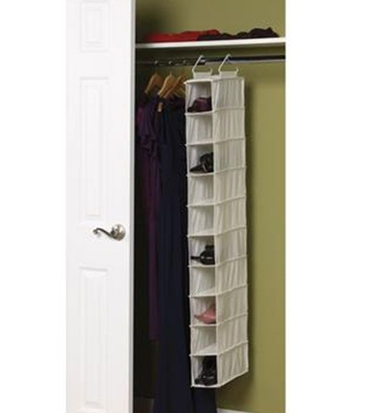 Canvas 10 Pocket Hanging Shoe Rack Shoe Organizer Hanging Shoe Organizer Household Essentials