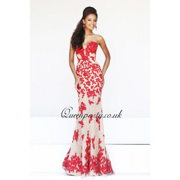 unique prom dresses 2014 | 2014 Designer Strapless Red Long Lace ...