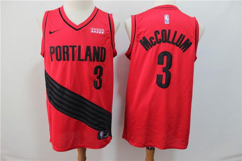 New Season Portland Trail Blazers #3 CJ McCollum Retro Red Basketball Jersey