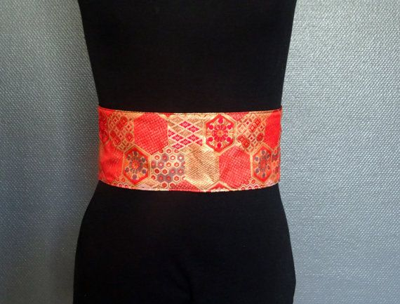 423b31cee11f Red and gold brocade obi belt   Yinco Clothing   Pinterest   Rouge ...