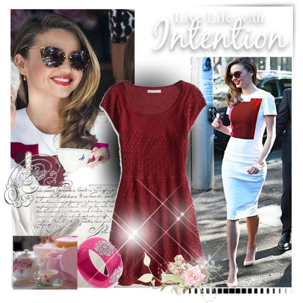 """Miranda Kerr at Tea in Australia"" by jewelryrecipe on Polyvore #celebrity #bangle #oxblood #trend #dress #sheath #colorblock #fashion @PlaidPanache #Etsy #Ebay #spring #2014 @Polyvore #editorial #layout"