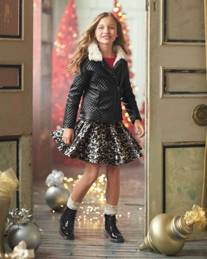 Girls Pleated Leopard Skirt - Add this fun skirt to a favorite top for instant style. The classic leopard print has a front-pleat silhouette that's swingy and cool. Machine Wash.