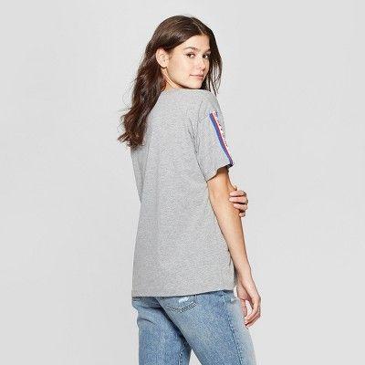 4cd32372e30 Women s Short Sleeve LOVE Athletic Stripe Graphic T-Shirt - Modern Lux ( Juniors ) Heather Gray XXL  Athletic