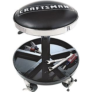 Craftsman Adjustable Rolling Mechanics Seat With Onboard Tool Tray