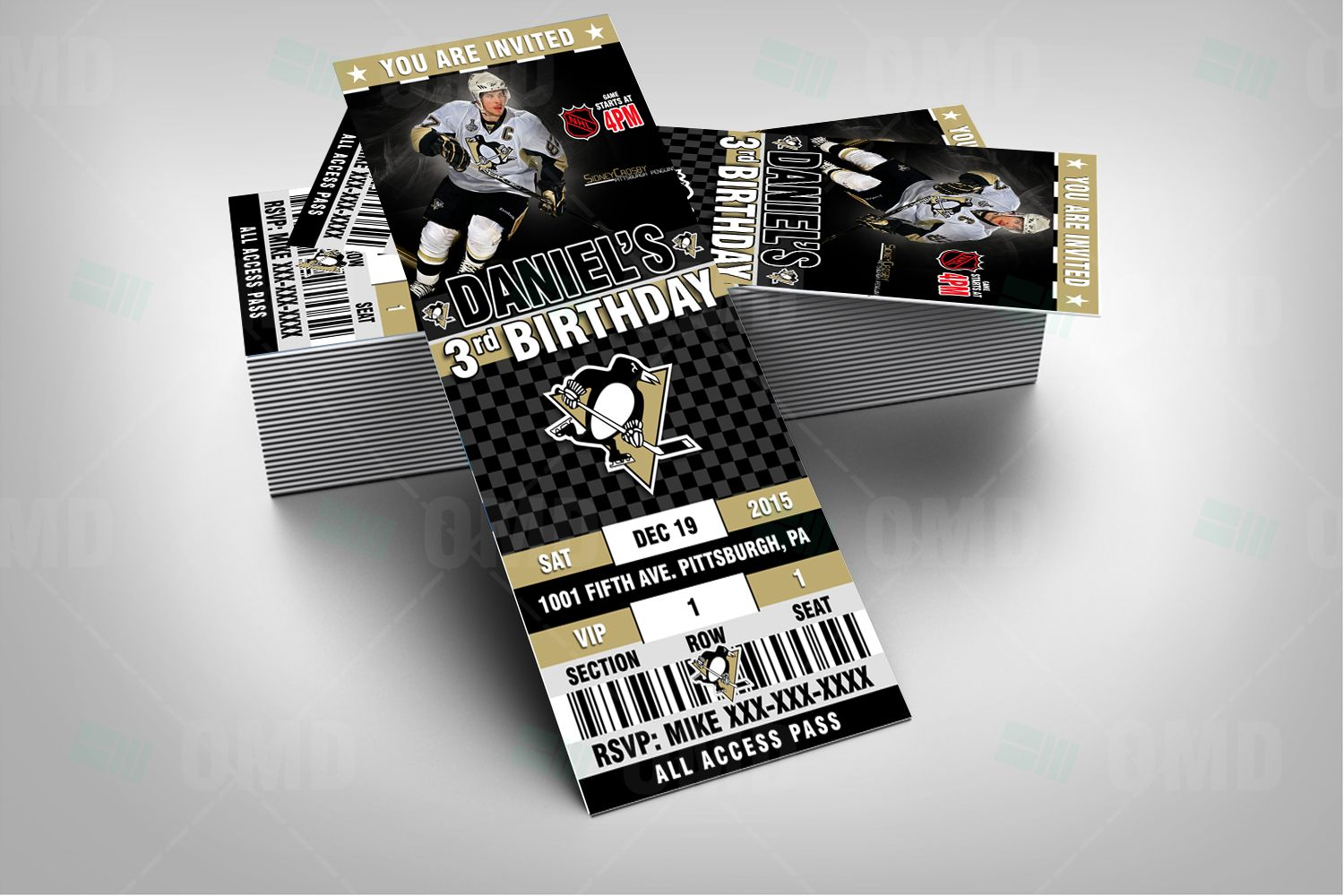Pittsburgh Penguins Hockey Sports Party Invitation, Penguins Sports ...