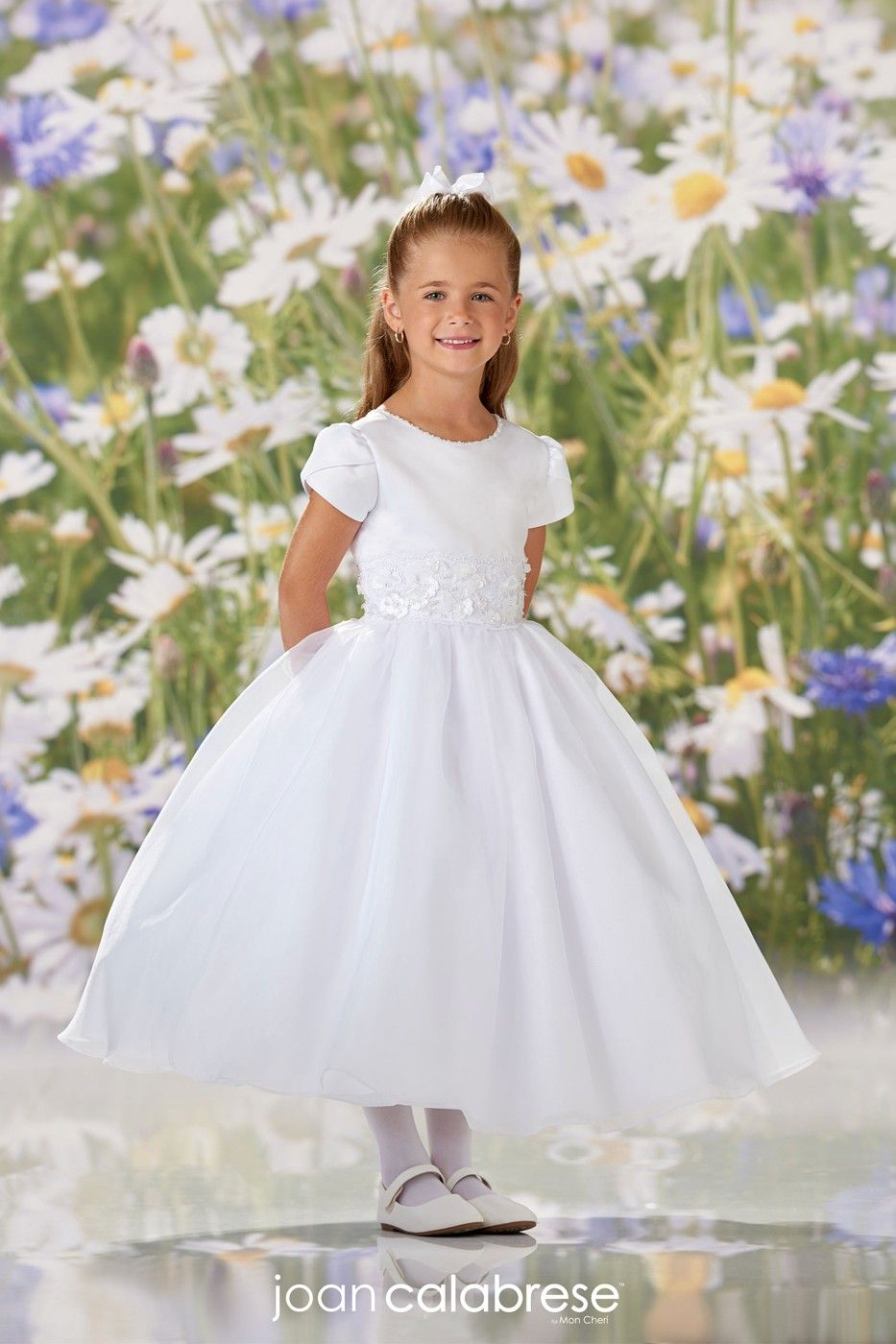 Joan Calabrese 120342 Tulip Sleeve First Communion Dress In 2021 First Communion Dresses Communion Dresses Flower Girl Dresses [ 1400 x 933 Pixel ]