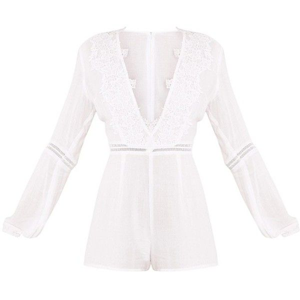 3dc0f14a46 Lauren White Cheesecloth Playsuit ( 16) ❤ liked on Polyvore featuring  jumpsuits