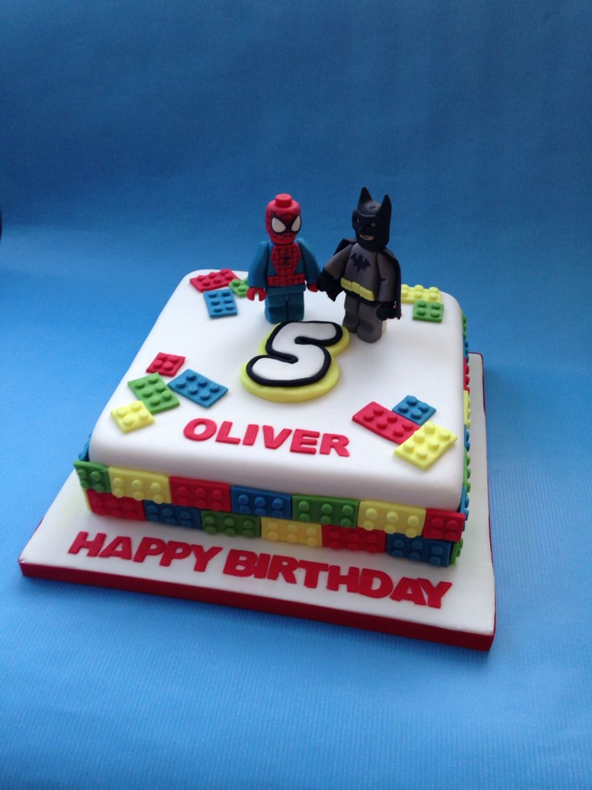 Lego Batman and Spiderman Cake