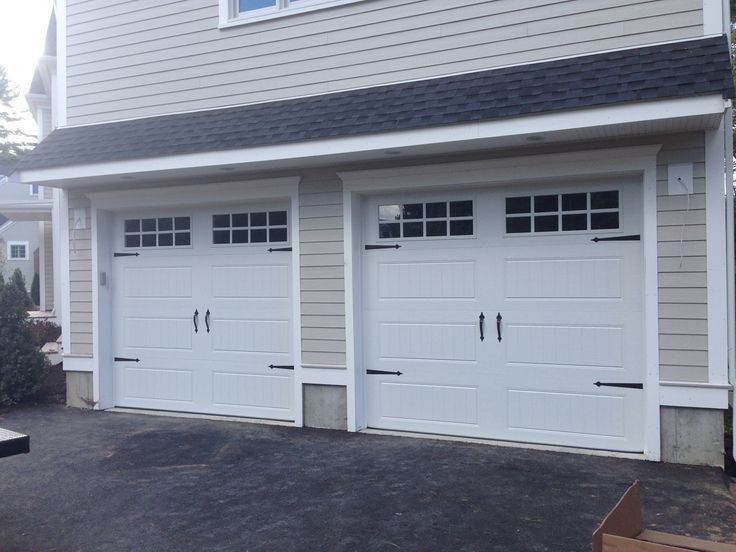 @C.H.I. Overhead Doors Model 5916 Faux Wood Steel Carriage House Garage  Doors In Mahogany Accents With Newport Long Glass U0026 Flat Black Spade Decorau2026