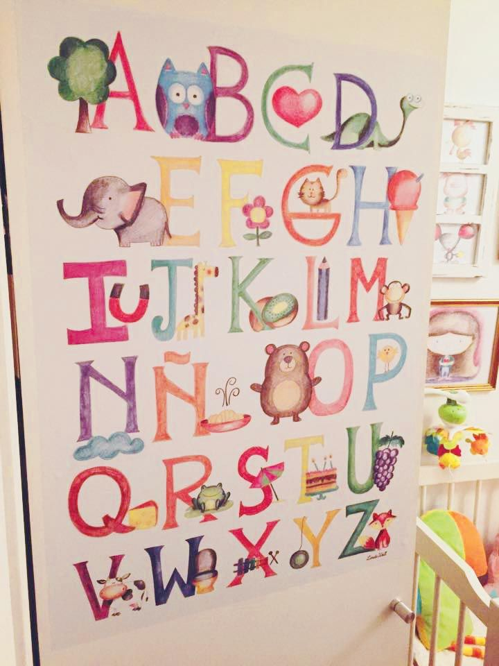 Delightful Alphabet Wall Decal, ABC Wall Sticker, Back To School, Educational Wall Art,