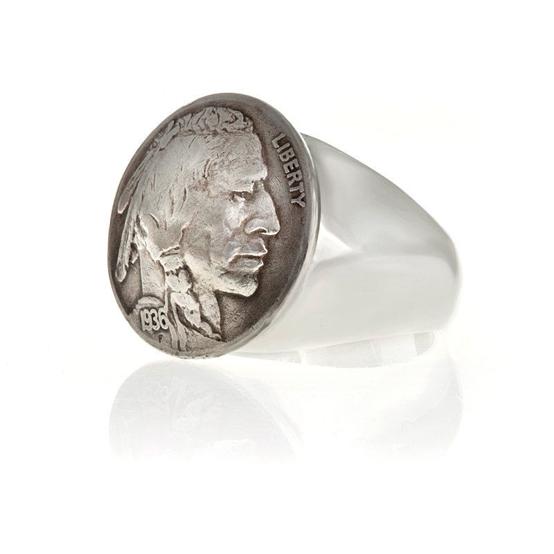 Coin Ring In white bronze Buffalo Indian Head by billyblue22, $65.00