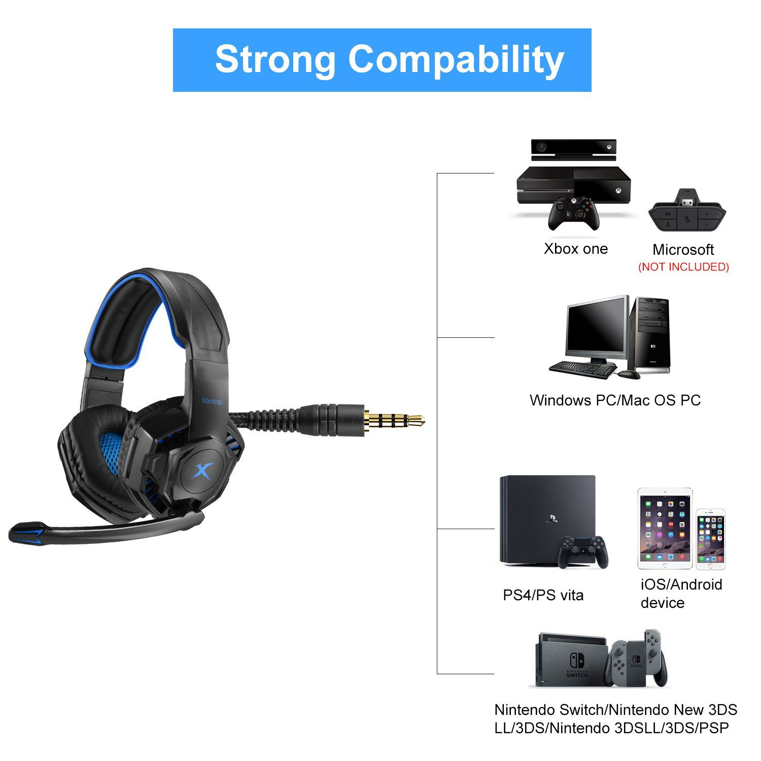 Kootop K10 Gaming Headset For Xbox one PS4 Over-Ear Headphones with