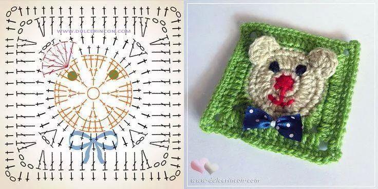 Schemi Uncinetto Piastrella Con Orsetto Crochet Crochet Plaid