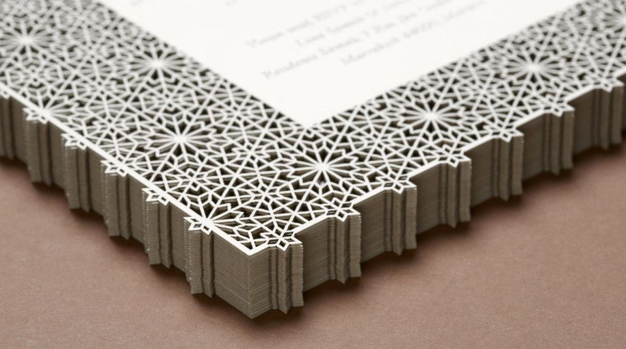 Laser cut geometric patterns for a Moroccan wedding invitation