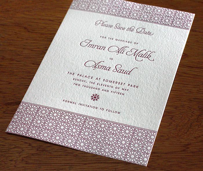 A deep fuchsia arabic inspired letterpress invitation for a wedding formal letterpress wedding invitation design gallery asma by invitations by ajalon stopboris Gallery
