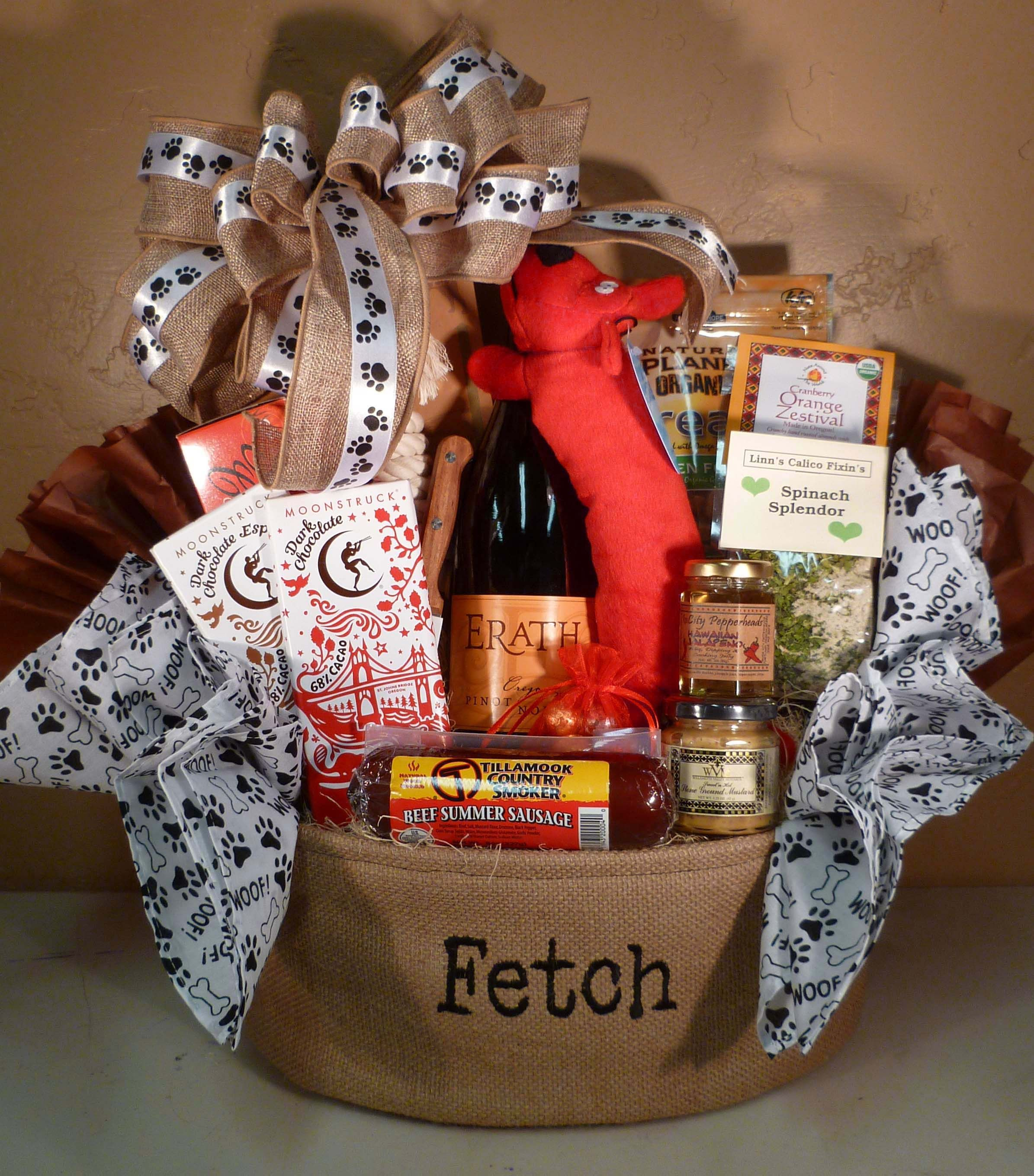 dog themed basket for raffle idea - mix of treats for owner & pet