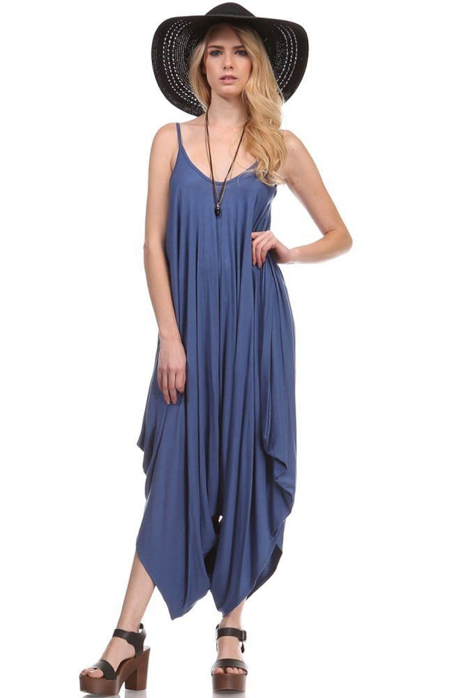 08b0703cf518 Solid Color Ladies Spaghetti Strap Loose Fit Summer Harem Jumper Jumpsuits  - Size Type Young Contemporary (Loose Fit-One Size Big)   Regular (Regular  Fit) ...