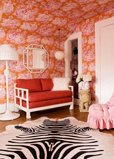 Sweet orange & pink girl's bedroom