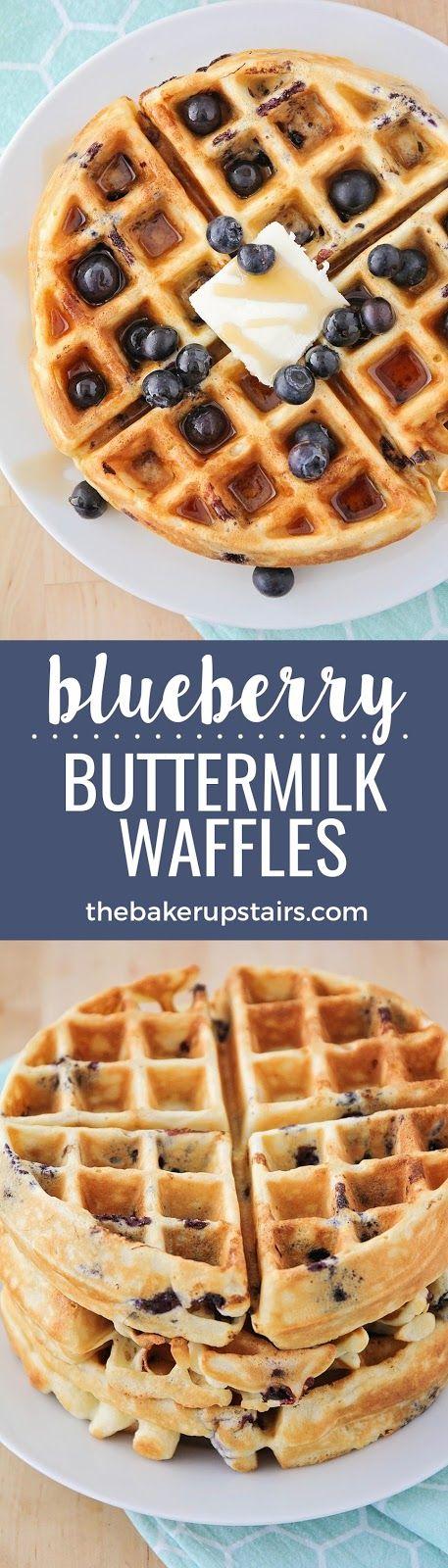 Blueberry Buttermilk Waffles Buttermilk Waffles Blueberry Recipes Waffles