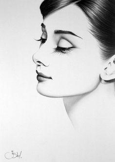Audrey Hepburn retrato fino arte lpiz dibujo firmado imprimir