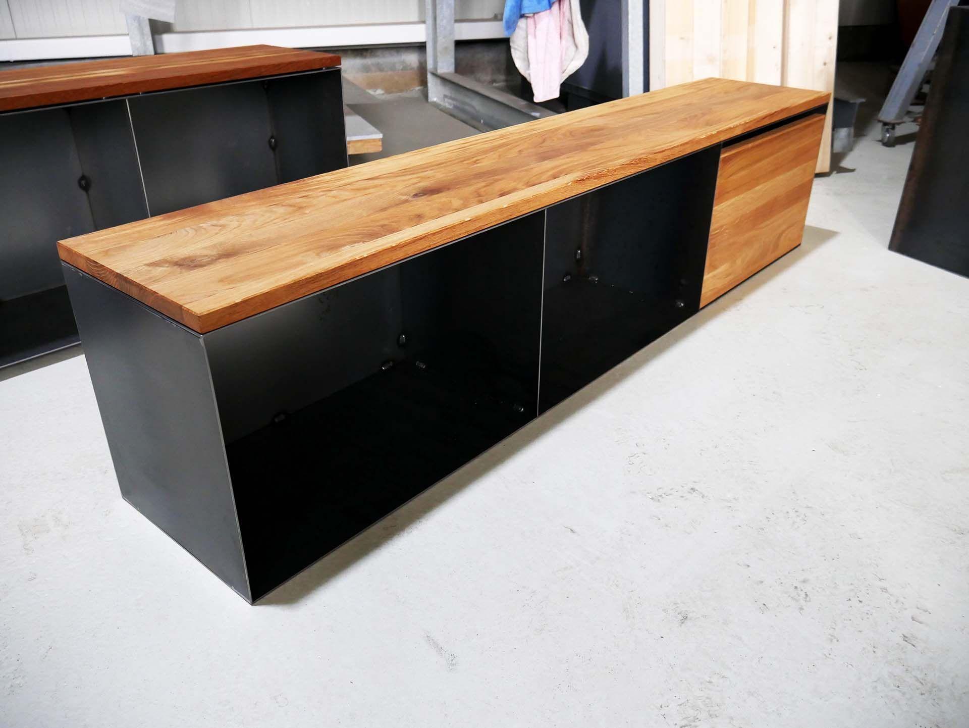 Sitzbank P5 Holz Metall Mit Stauraum Kamin Holz Aufbewahrung